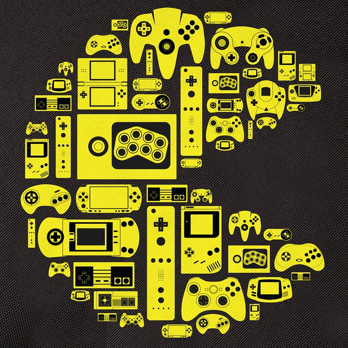 designer pacman on black yellow closeup